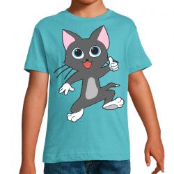 T-Shirt Garçon Grey Cat